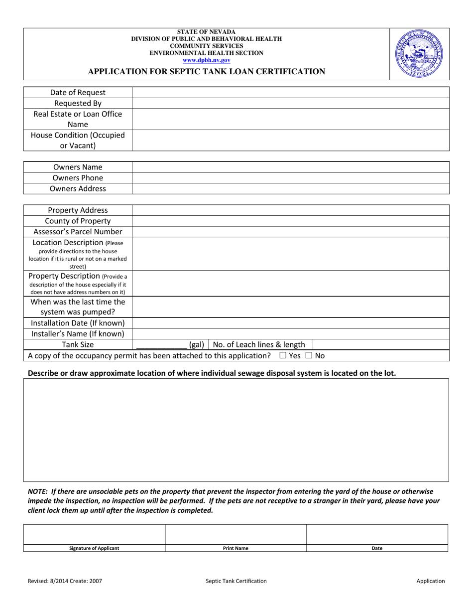 septic tank certification nevada application templateroller loan template