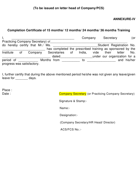 """Completion Training Certificate Template"" Download Pdf"