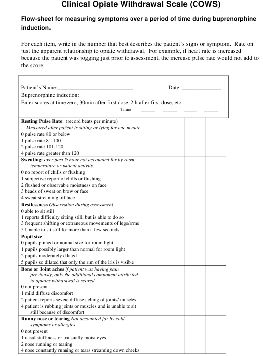 """""""Clinical Opiate Withdrawal Scale (Cows) Flow-Sheet"""" Download Pdf"""
