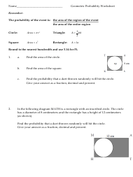 """Geometric Probability Worksheet - North Iredell High School"""