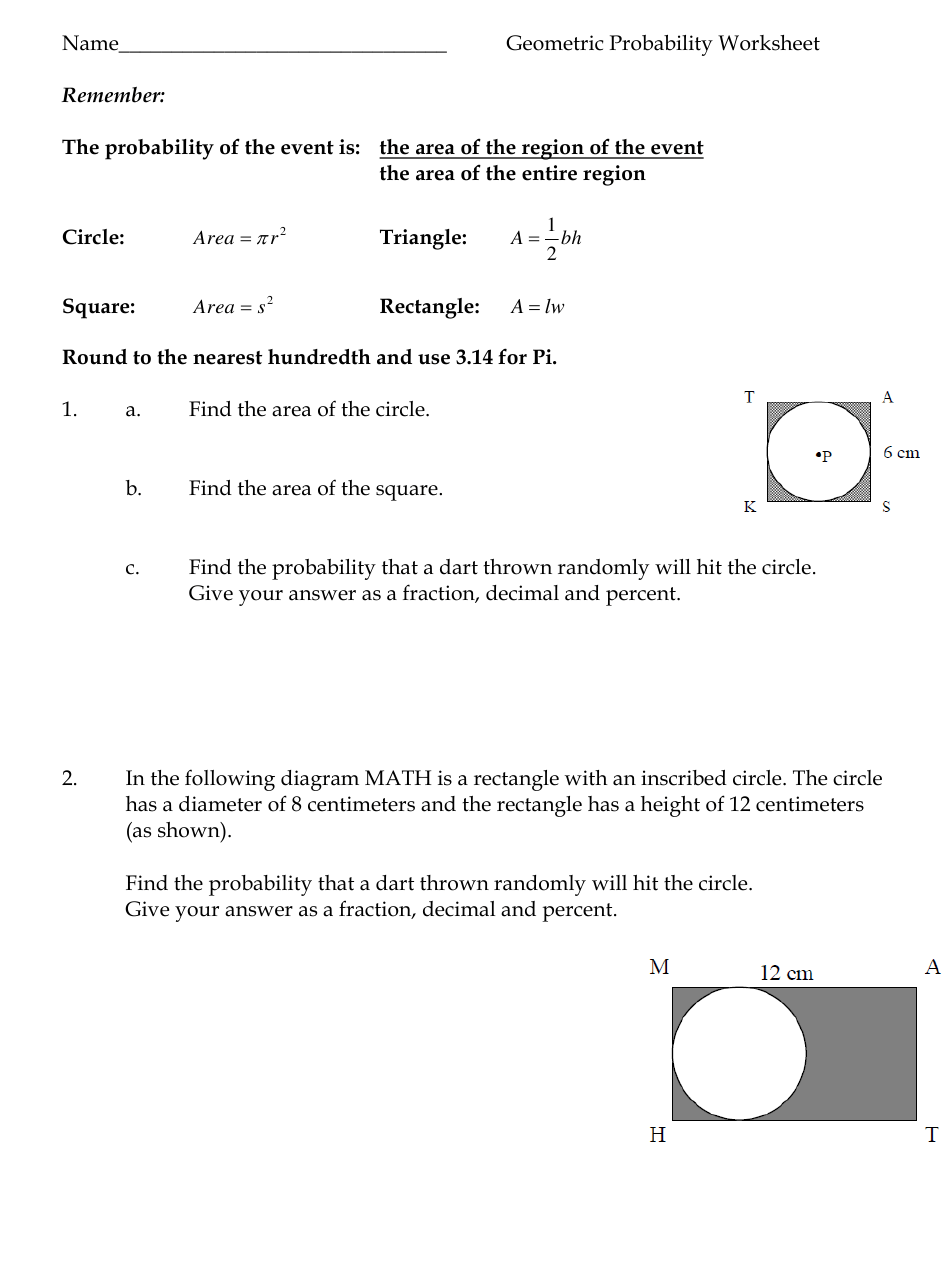 Geometric Probability Worksheet - North Iredell High School Regarding Probability Worksheet High School