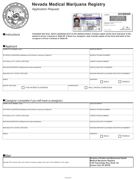 Nevada Application Request Form Nevada Medical Marijuana Registry Download Printable Pdf Templateroller