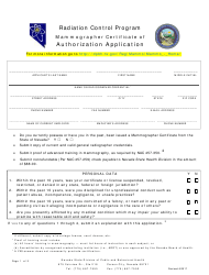 Mammographer Certificate of Authorization Application Form - Radiation Control Program - Nevada