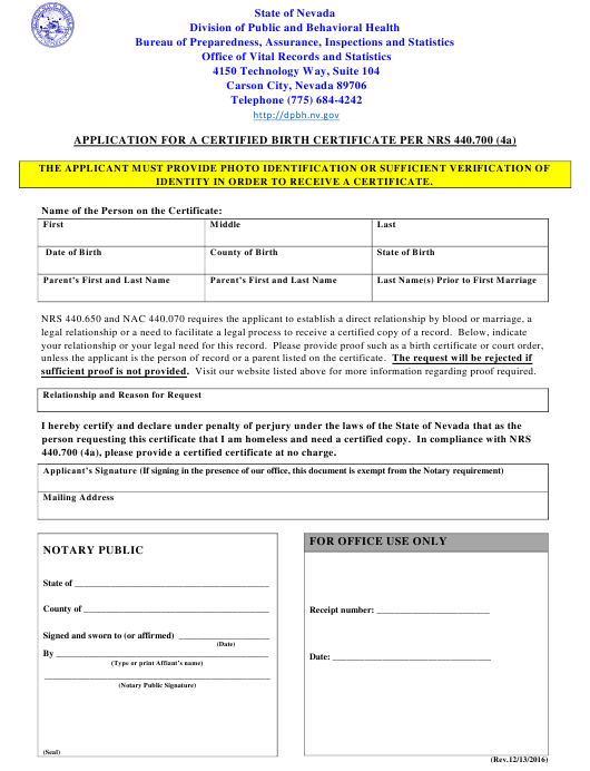 """""""Application for a Certified Birth Certificate Per Nrs 440.700 (4a)"""" - Nevada Download Pdf"""