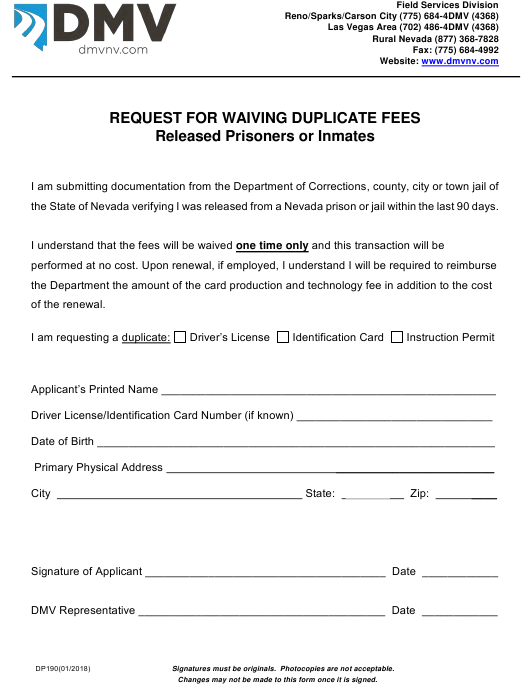 Form DP 190 Fillable Pdf