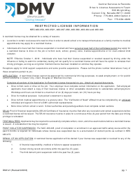 Form DMV-21 Application for Restricted License - Nevada