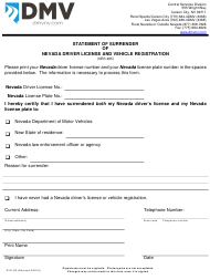 "Form DLD-95 ""Statement of Surrender of Nevada Driver License and Vehicle Registration"" - Nevada"