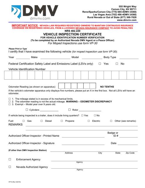 Form VP-15  Printable Pdf