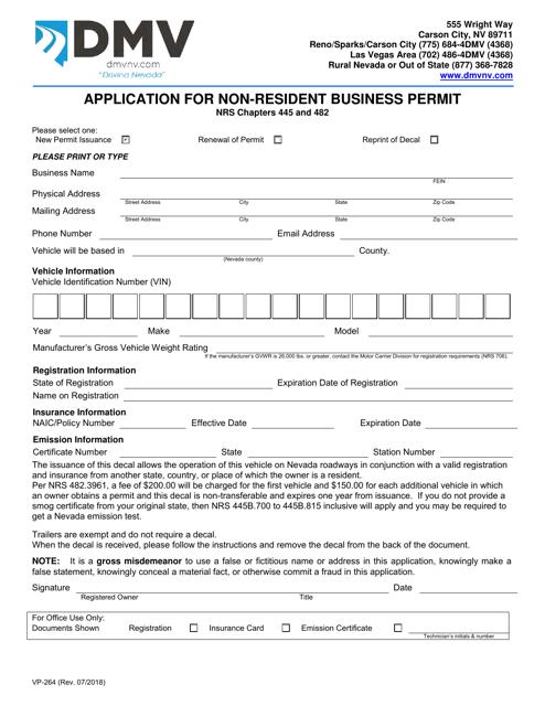 Form VP-264 Printable Pdf