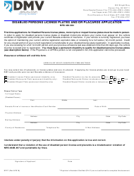 Form SP 27 Disabled Persons License Plates and/Or Placards Application - Nevada