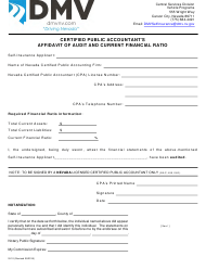 "Form SI-10 ""Certified Public Accountant's Affidavit of Audit and Current Financial Ratio"" - Nevada"
