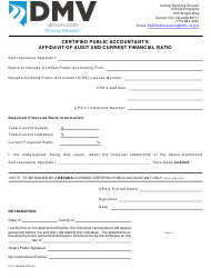 Form SI-10 Certified Public Accountant's Affidavit of Audit and Current Financial Ratio - Nevada