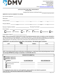 "Form SI-02 ""Application for Self-insurance"" - Nevada"