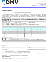 "Form SI03 ""Self-insurance Loss Experience Record"" - Nevada"