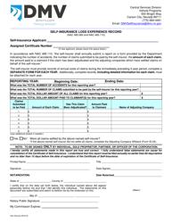 Form SI 03 Self-insurance Loss Experience Record - Nevada