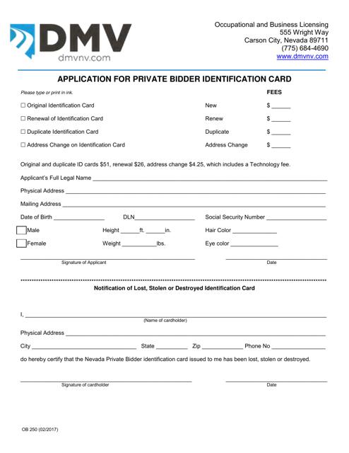 Form OB250 Printable Pdf