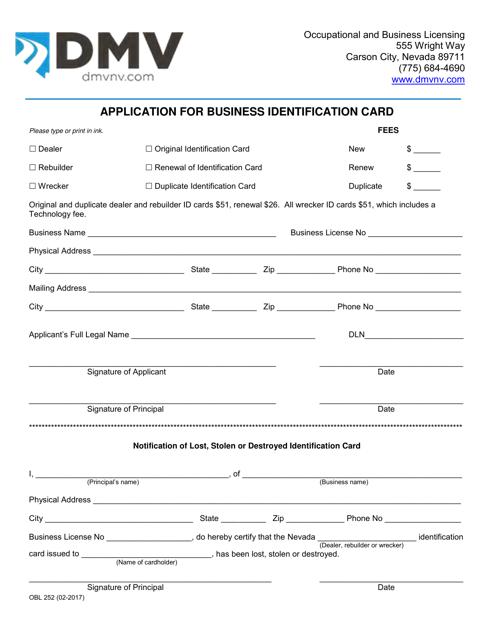 Form OBL252 Printable Pdf