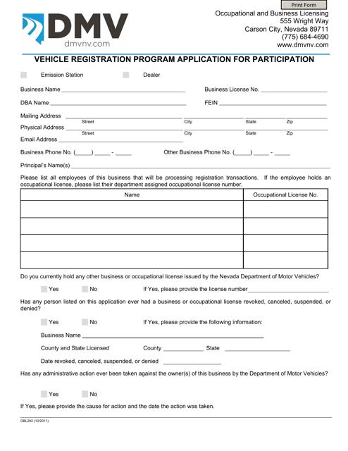Form OBL 292 Download Fillable PDF, Vehicle Registration