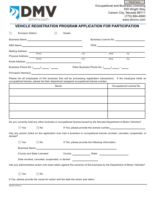 Form OBL292  Printable Pdf