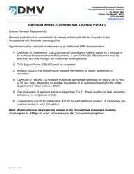 """Form EC-50 """"Emission Inspector Renewal License Packet"""" - Nevada"""