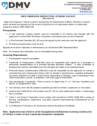 """Form EC-7 """"New Emission Inspector License Packet"""" - Nevada"""