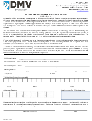 Form SP-34 Classic Vehicle License Plate Application - Nevada