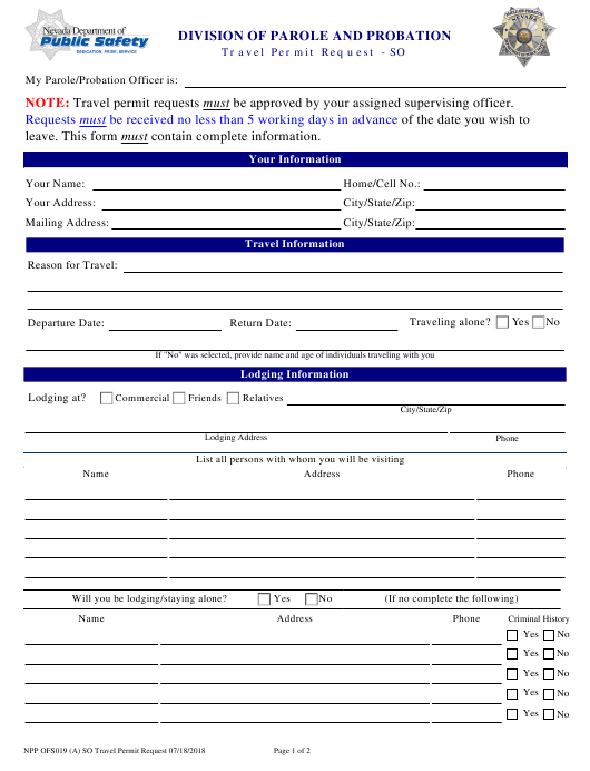 Form NPP OFS019  Printable Pdf