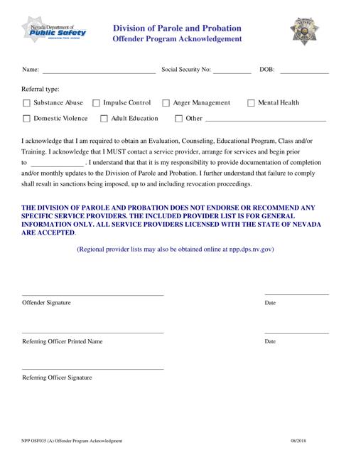Form NPP OFS035  Printable Pdf