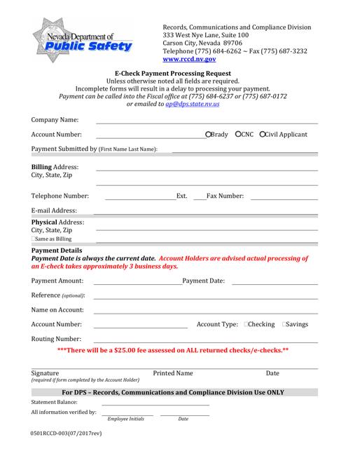 Form 0501 RCCD-003  Printable Pdf
