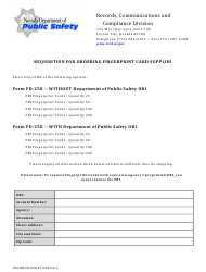 "Form 0501 RCCD-002 ""Requisition for Ordering Fingerprint Card Supplies"" - Nevada"