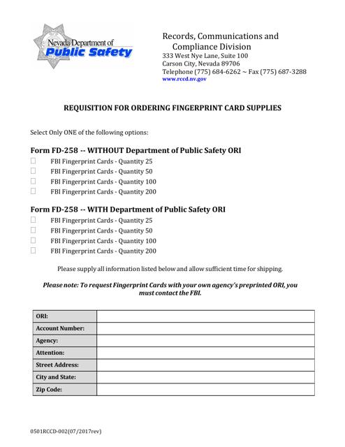 Form 0501 RCCD-002  Printable Pdf