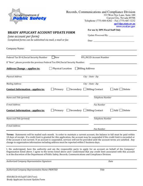 Form 9501RCCD-015A  Printable Pdf