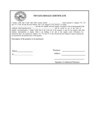 """Nevada Resale Certificate"" - Nevada"