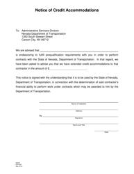 "NDOT Form 070-033 ""Notice of Credit Accommodations"" - Nevada"