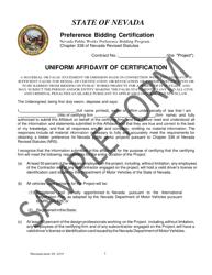 """Uniform Affidavit of Certification - Preference Bidding Certification - Sample"" - Nevada"
