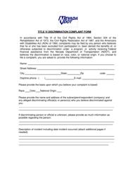 """Title VI Discrimination Complaint Form"" - Nevada"