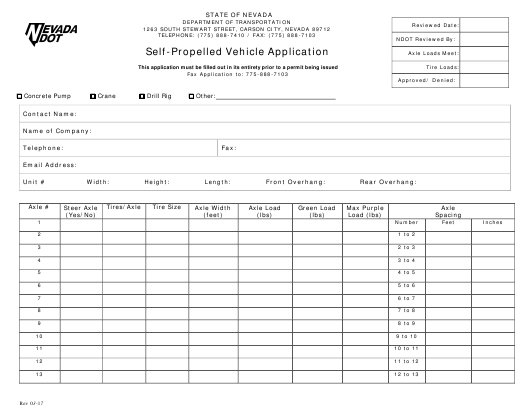 """""""Self-propelled Vehicle Application Form"""" - Nevada Download Pdf"""