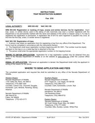 """Instructions for Form SLAP29.01 """"Trap Registration Number"""" - Nevada"""