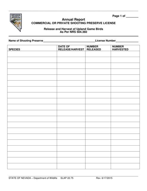 Form SLAP22.75  Printable Pdf