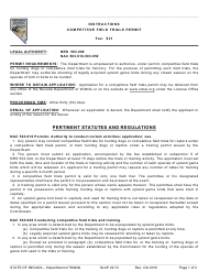"Instructions for Form SLAP22.74 ""Competitive Field Trials Permit"" - Nevada"