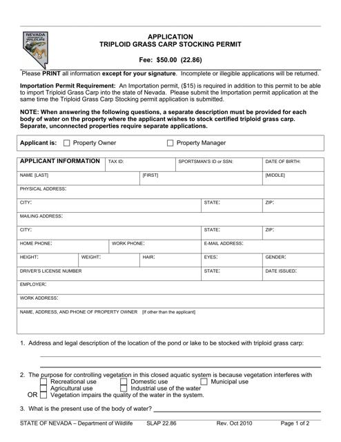 Form SLAP22.86  Printable Pdf