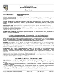 "Instructions for Form SLAP22.39 ""Aerial Depredation Permit"" - Nevada"