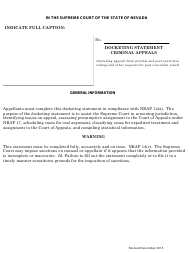 """Docketing Statement Form - Criminal Appeals"" - Nevada"