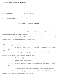 "Form 6 ""Fast Track Statement"" - Nevada"