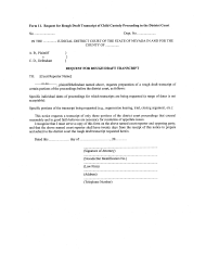 "Form 11 ""Request for Rough Draft Transcript of Child Custody Proceeding in the District Court"" - Nevada"