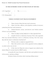 "Form 12 ""Child Custody Fast Track Statement"" - Nevada"
