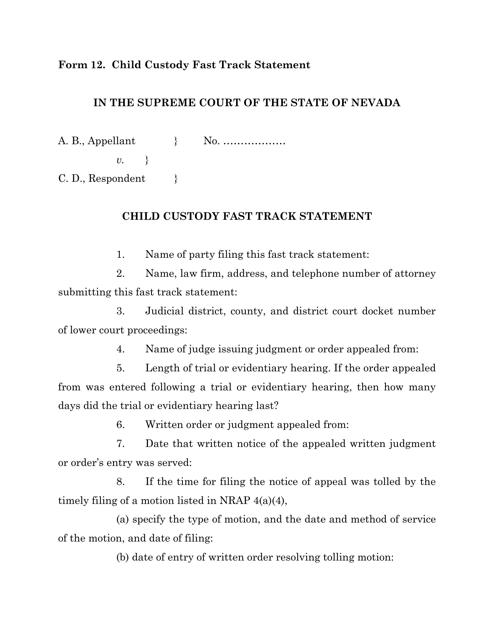 Form 12  Printable Pdf