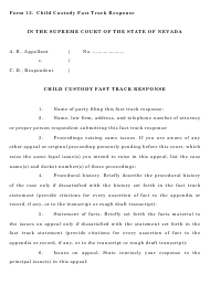 "Form 13 ""Child Custody Fast Track Response"" - Nevada"