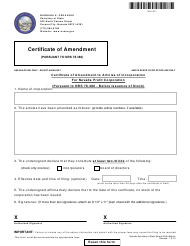"""Form 090103 """"Certificate of Amendment to Articles of Incorporation for Nevada Profit Corporation (Pursuant to Nrs 78.380 - Before Issuance of Stock)"""" - Nevada"""