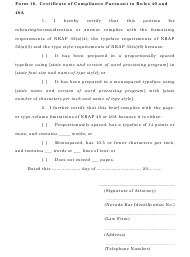 "Form 16 ""Certificate of Compliance Pursuant to Rules 40 and 40a"" - Nevada"